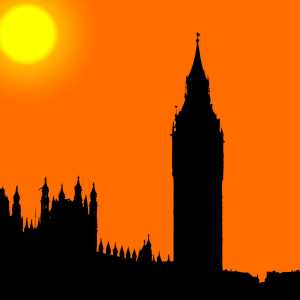 Sunset over Big Ben, Houses of Parliament, Westminster