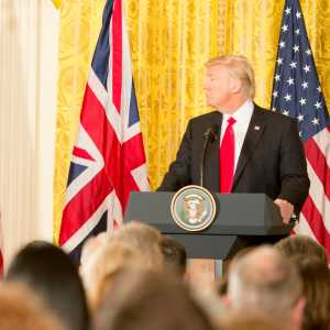 Prime Minister Theresa May and President Donald Trump at a press conference during May's first visit to the US since Trump took power