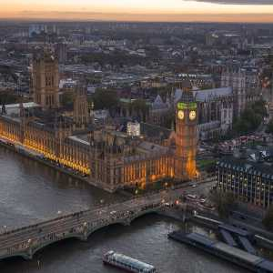 Bird's-eye view of the Palace of Westminster, UK Houses of Parliament
