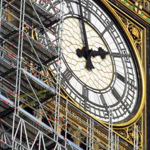 Big Ben wrapped in scaffolding, UK Houses of Parliament, Westminster
