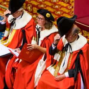 Cap doffing in the House of Lords, UK Parliament, during prorogation