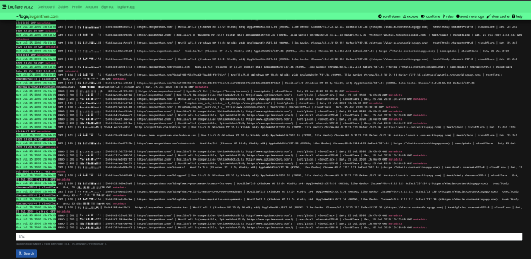 Logs real time view logflare