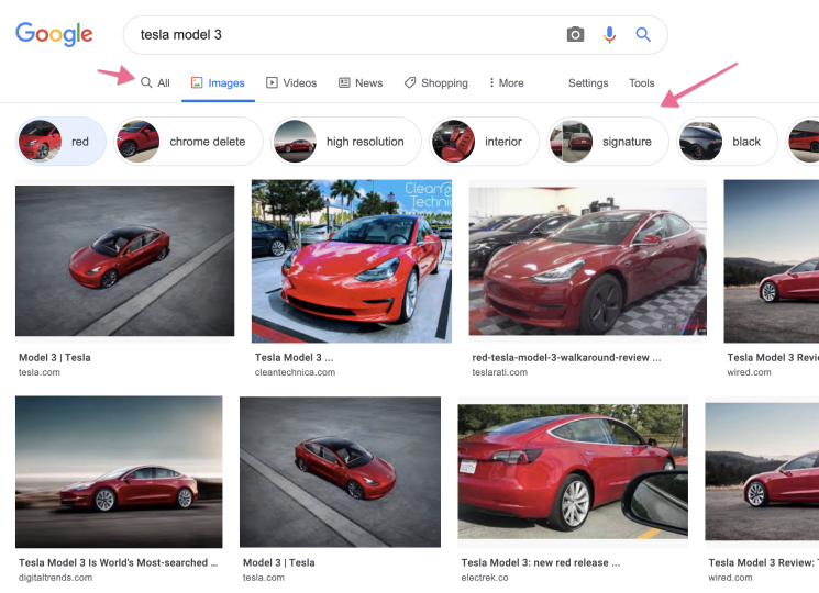 Visual search entity filtering