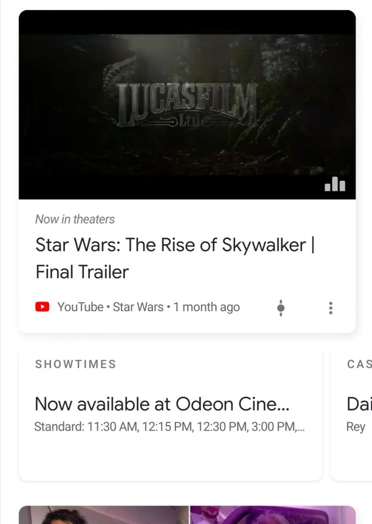 Movie screening times in Google discover