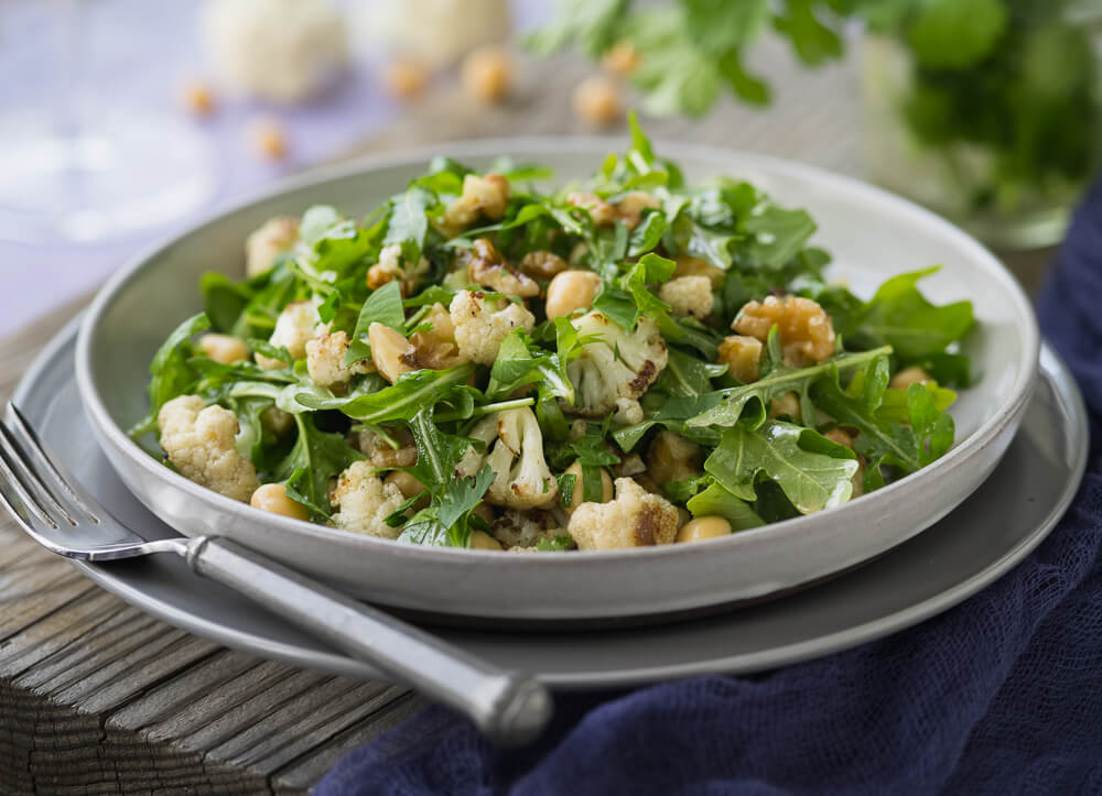 Falafel-spiced chickpea and cauliflower salad