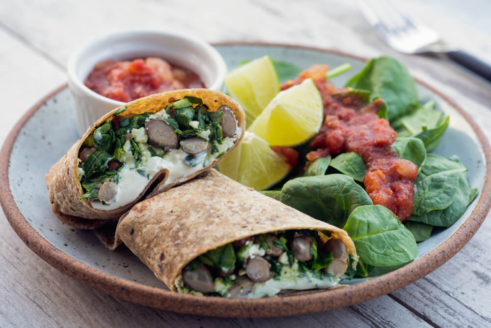 Black bean and feta-burrito