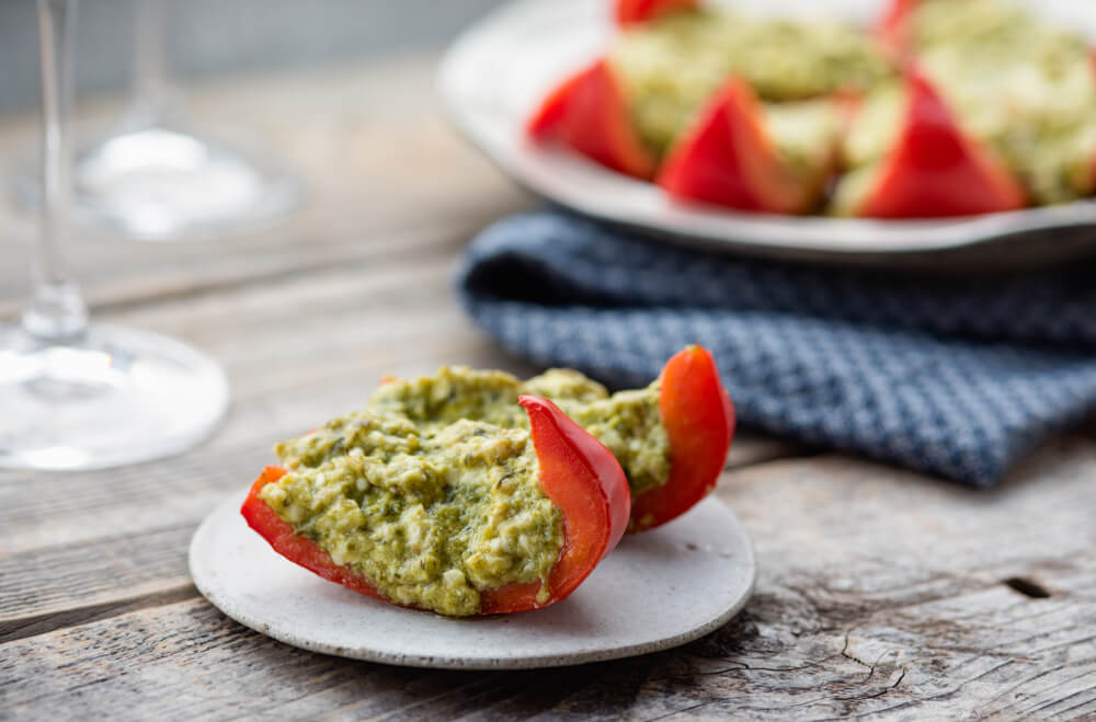 Bell pepper pesto poppers keto appetizer