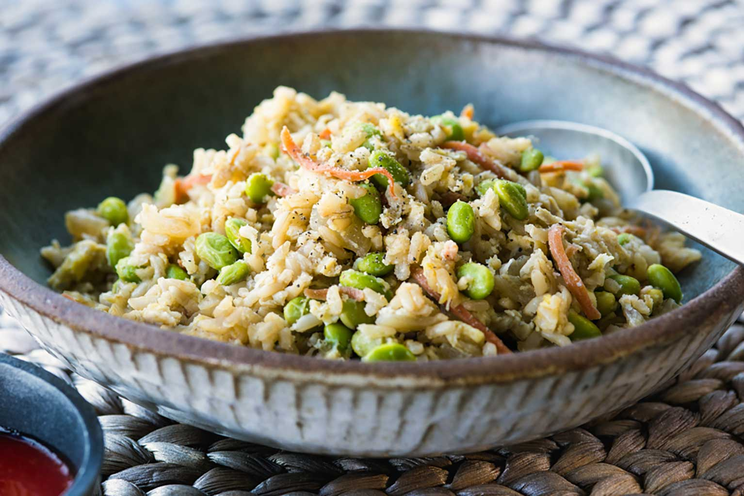 Savory-edamame-fried-rice-in-a-ceramic-bowl