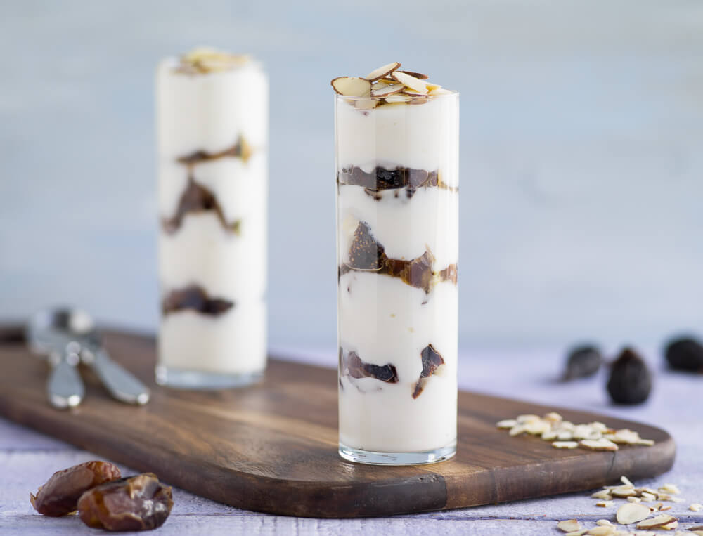Fig date and almond yogurt parfaits