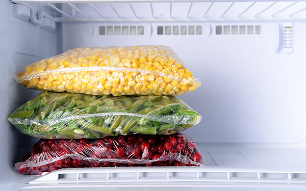 freezer bags with frozen corn beans and cranberries small