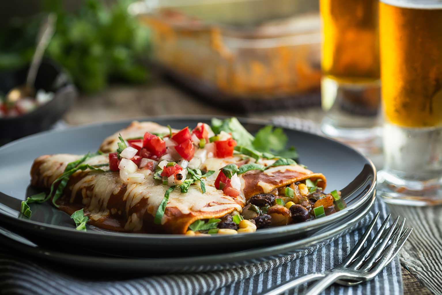 Black-bean-and-corn-enchiladas-are-an-easy-and-cost-effective-pantry-dinner