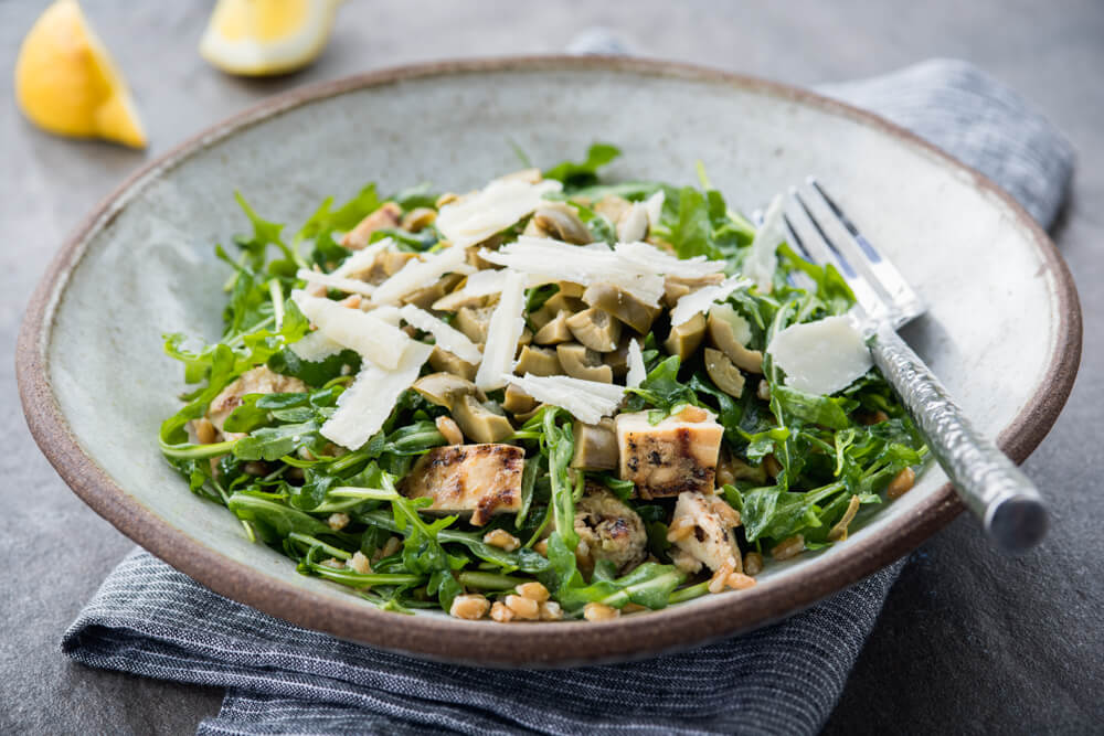 Chicken arugula and farro salad