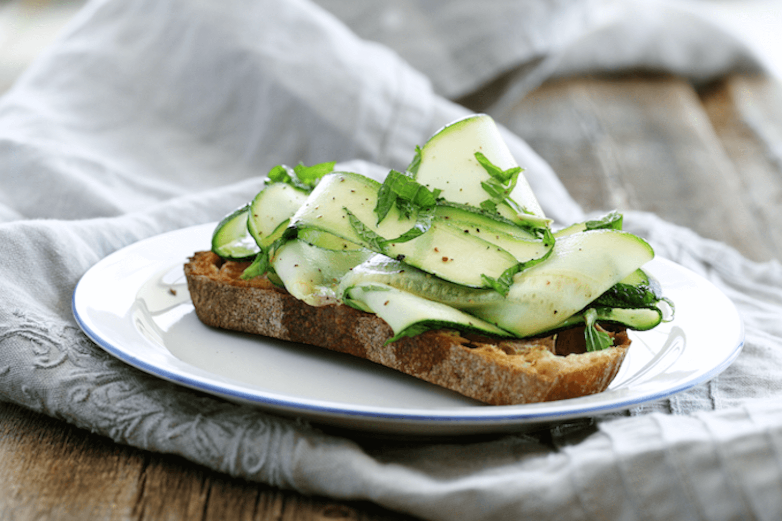 Zucchini Crostini with Lemon and Mint