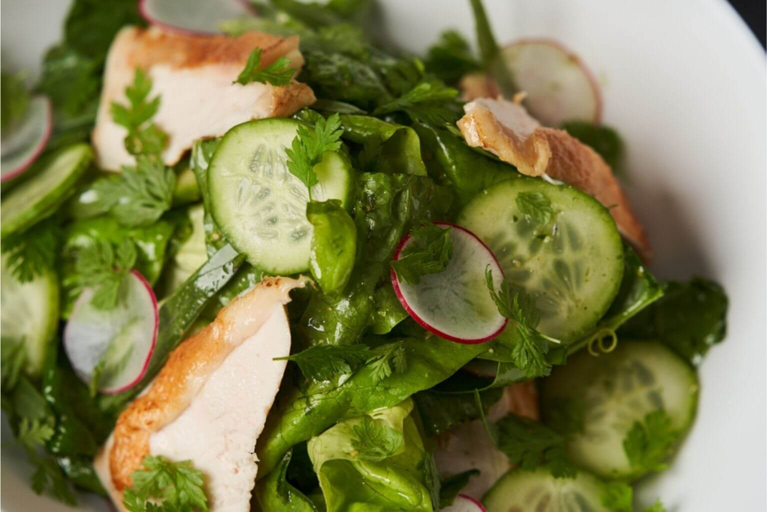 Fresh salad with romaine lettuce, cucumber, radish chicken, and herbs.