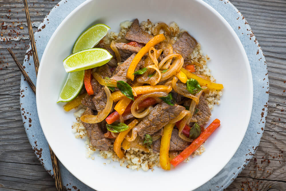 Quick Thai red curry beef with cauliflower rice