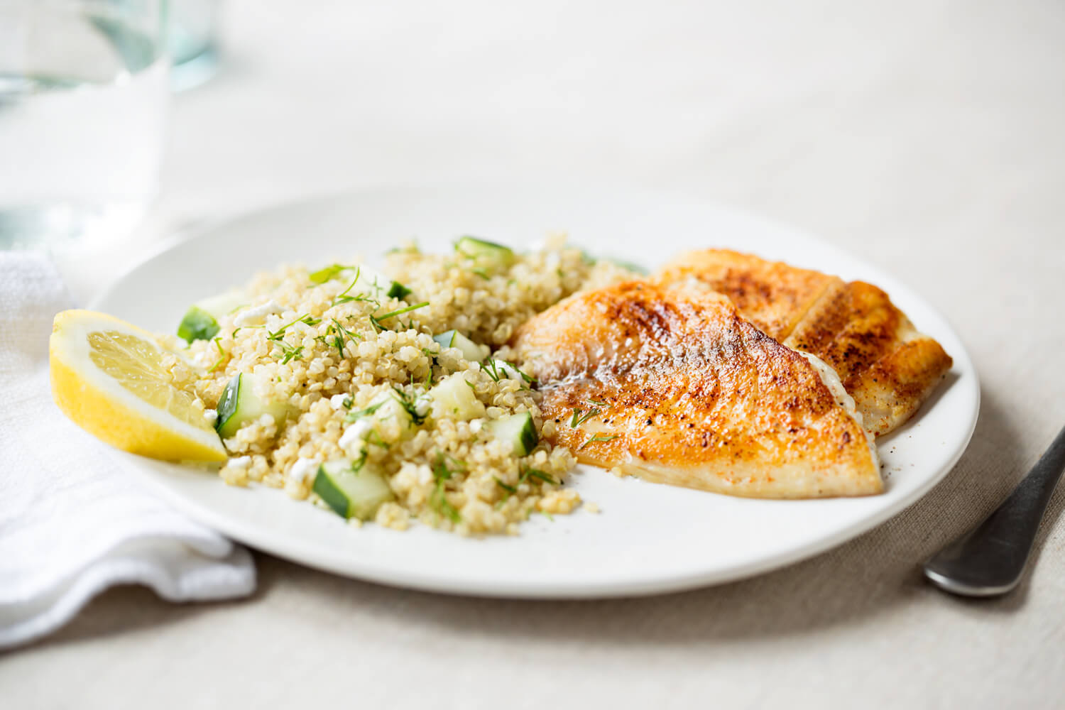 Tilapia and quinoa with feta and cucumber teig 130703 4131 (1)