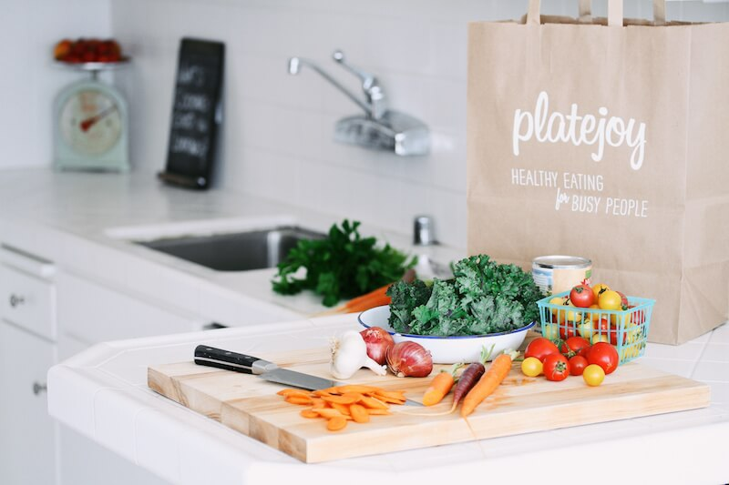 PlateJoy grocery bag kitchen ingredients prep