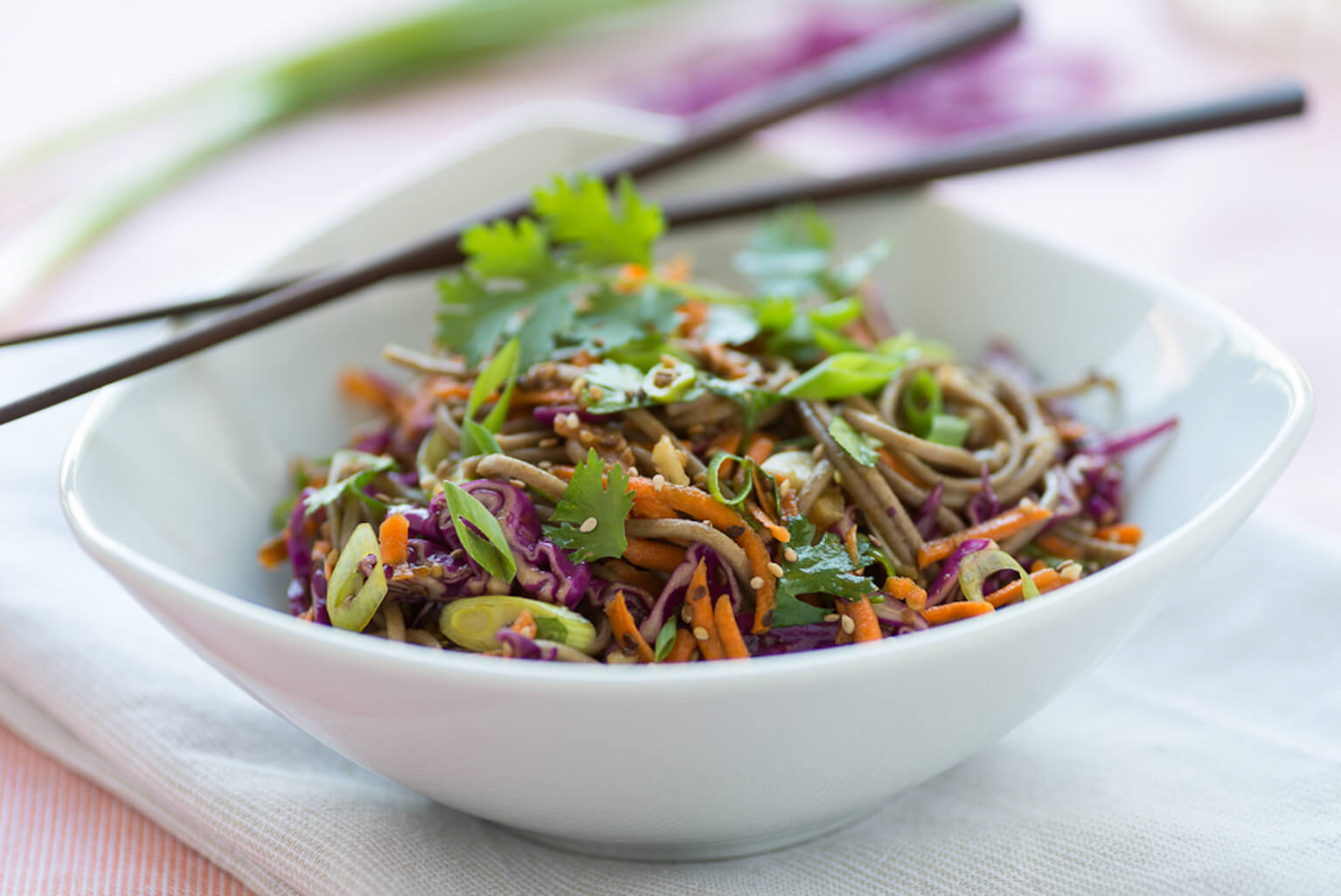 Buckwheat Soba Noodle Red Cabbage Salad