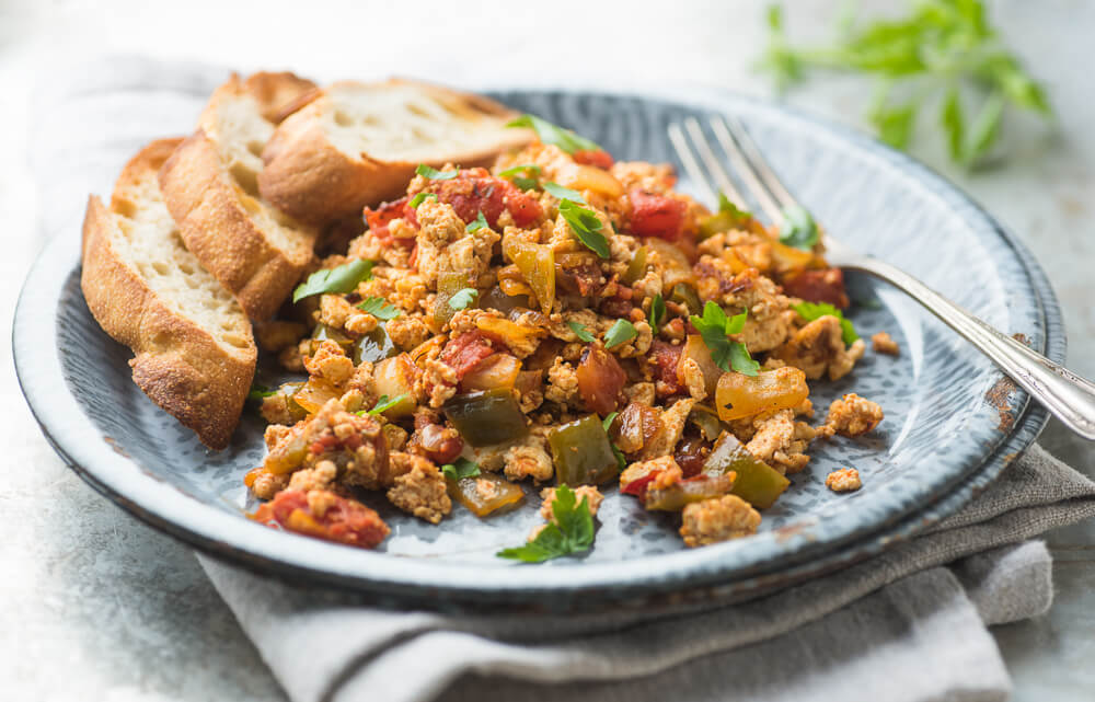 Turkish style tofu scramble breakfast