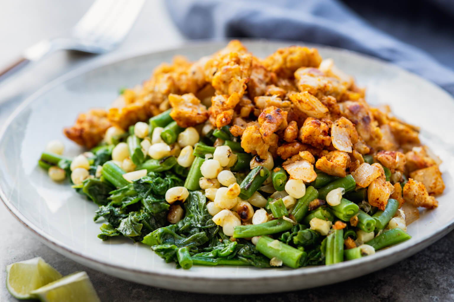 vegan green bean succotash with smoky tempeh
