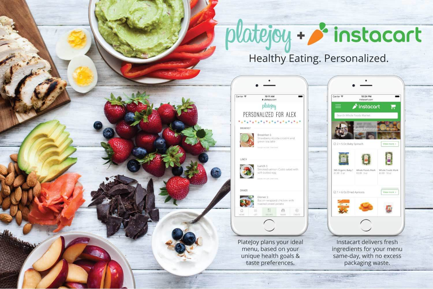 PlateJoy and Instacart partnership screens