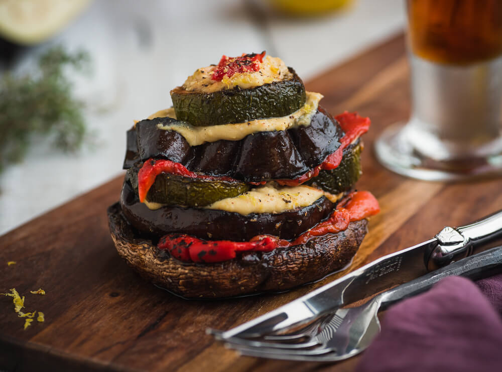 Roasted vegetable stack with lemon hummus