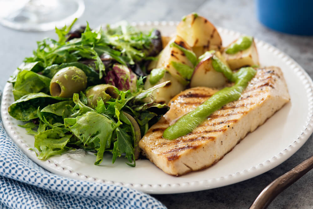 Grilled swordfish with parsley potatoes & side salad (1)