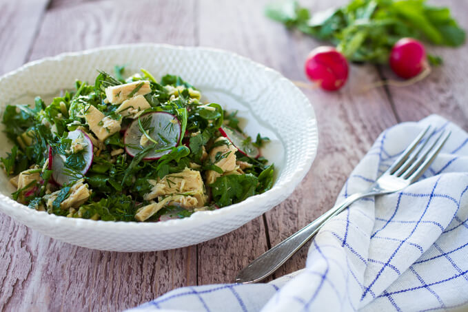 Herb salad with tuna avocado and radishes