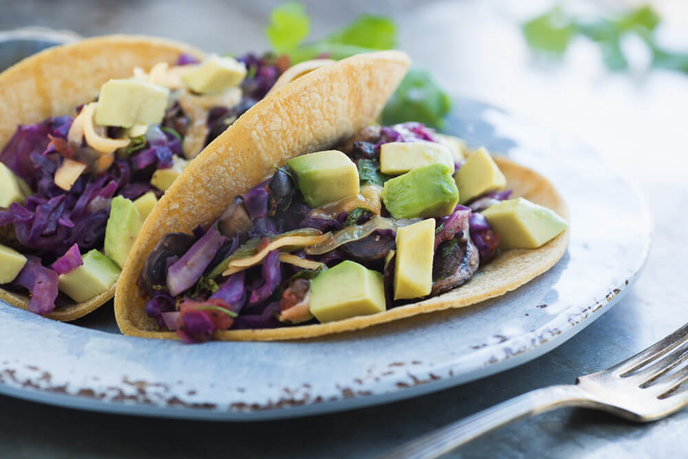 Soft tacos with cabbage and mushroom saute