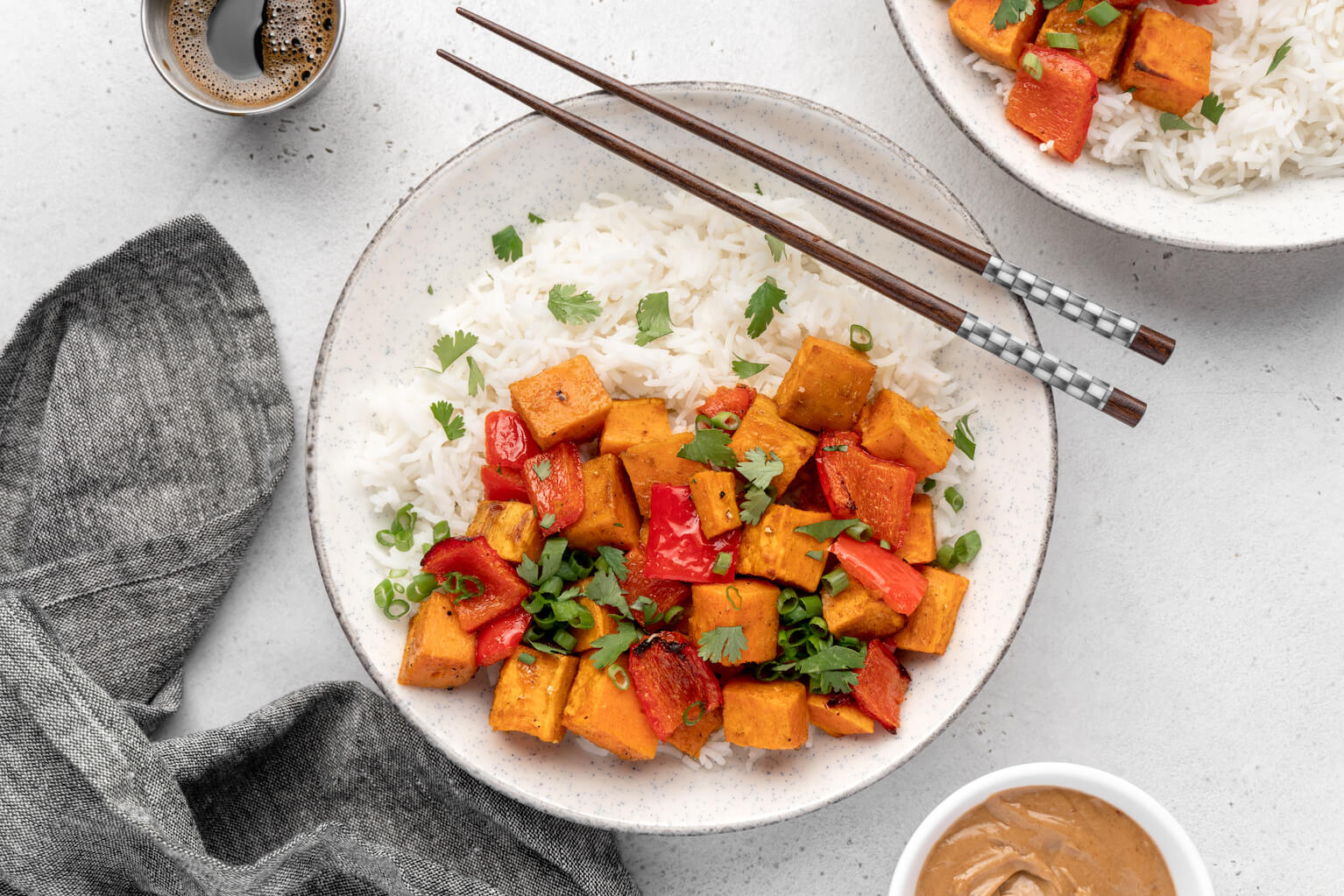 Thai Peanut Sweet Potato Bowls over Rice