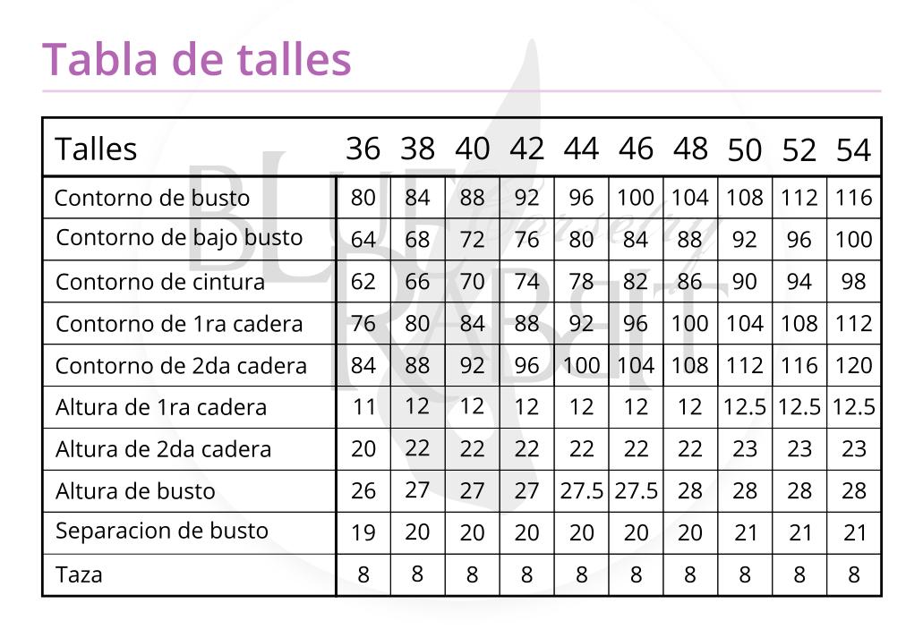 tabla de talles general