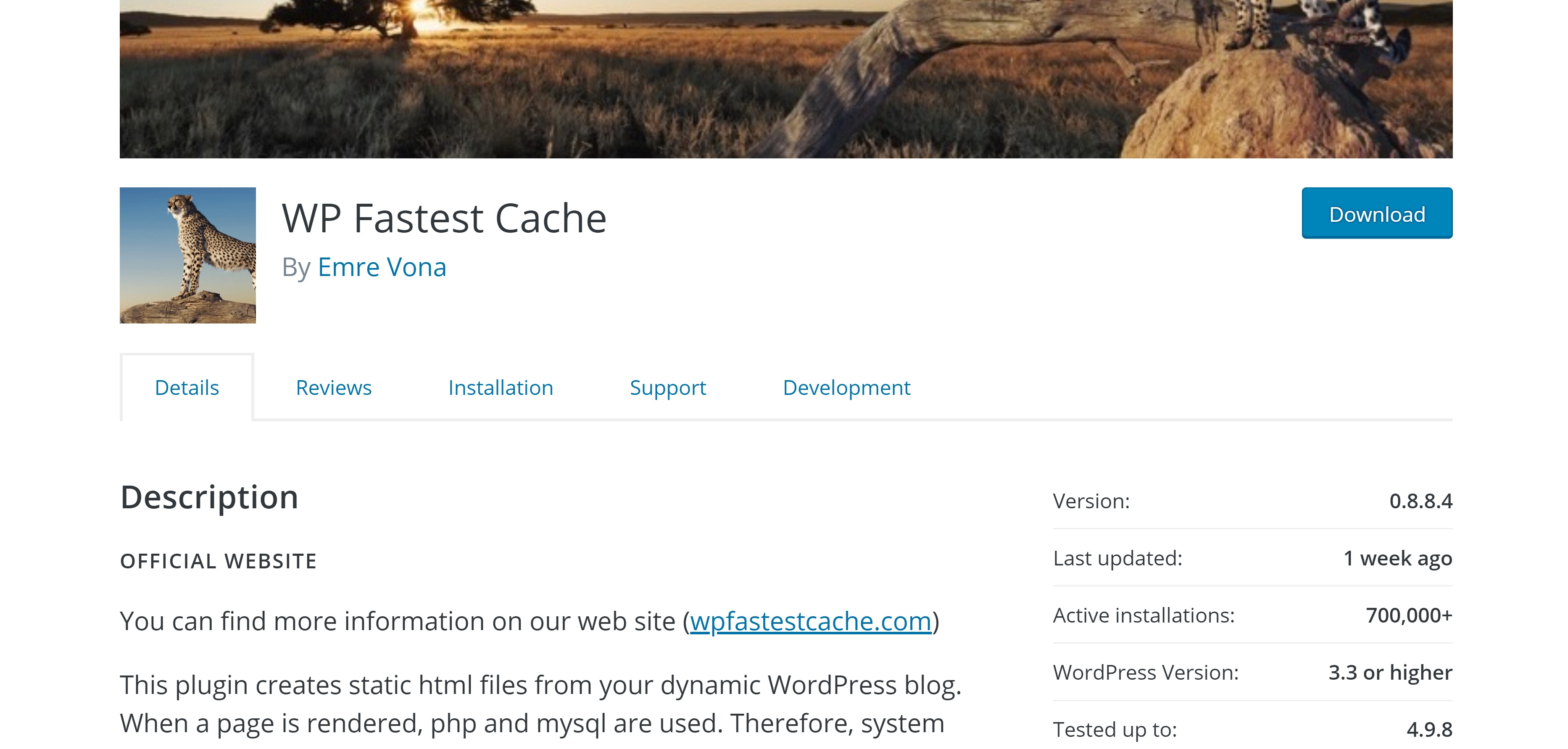 WP Fastest Cache speeds up your website