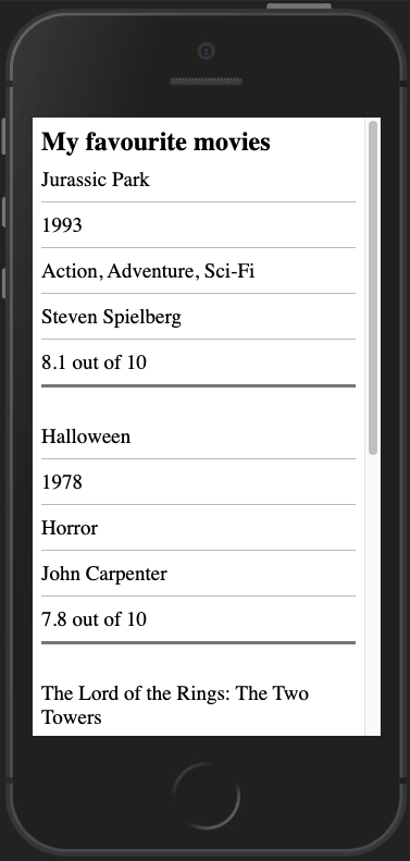 Table on mobile with stylings to resemble a list, headings are not currently visible