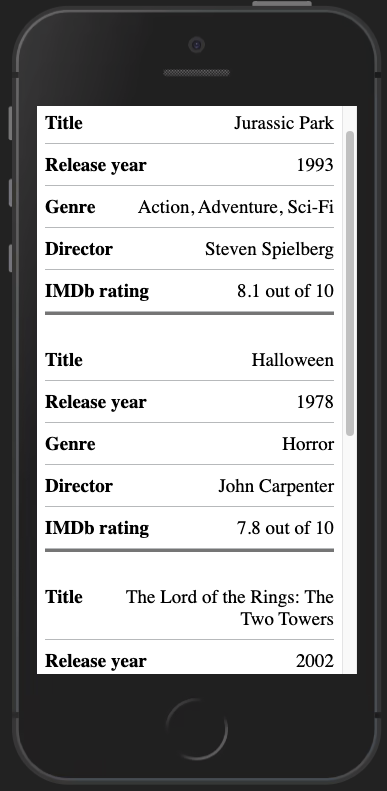 Finished responsive table on mobile, showing headings with border seperation for each row,