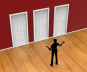 Figure standing in front of three doors