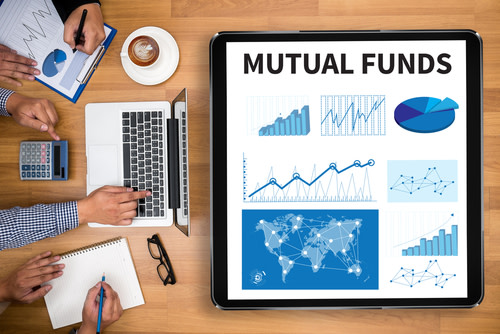 "Large tablet with ""Mutual Funds"" page open"