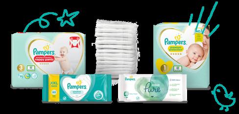 Pampers Nyfødtbleier og Våtservietter