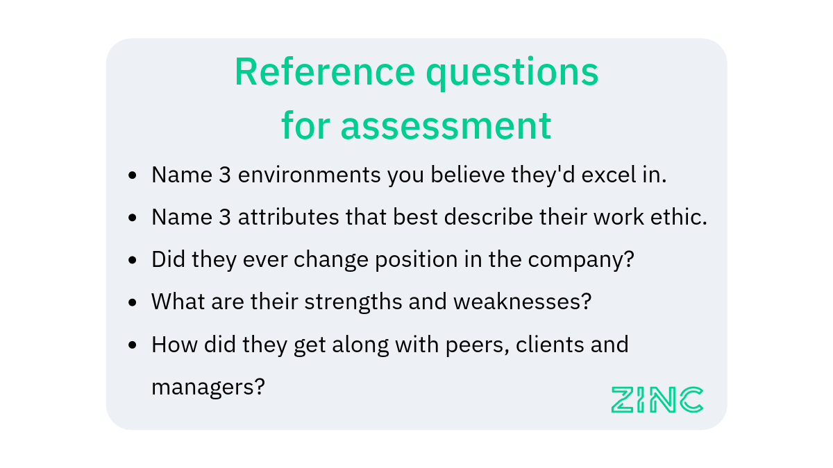 Reference Check questions for assessment screening