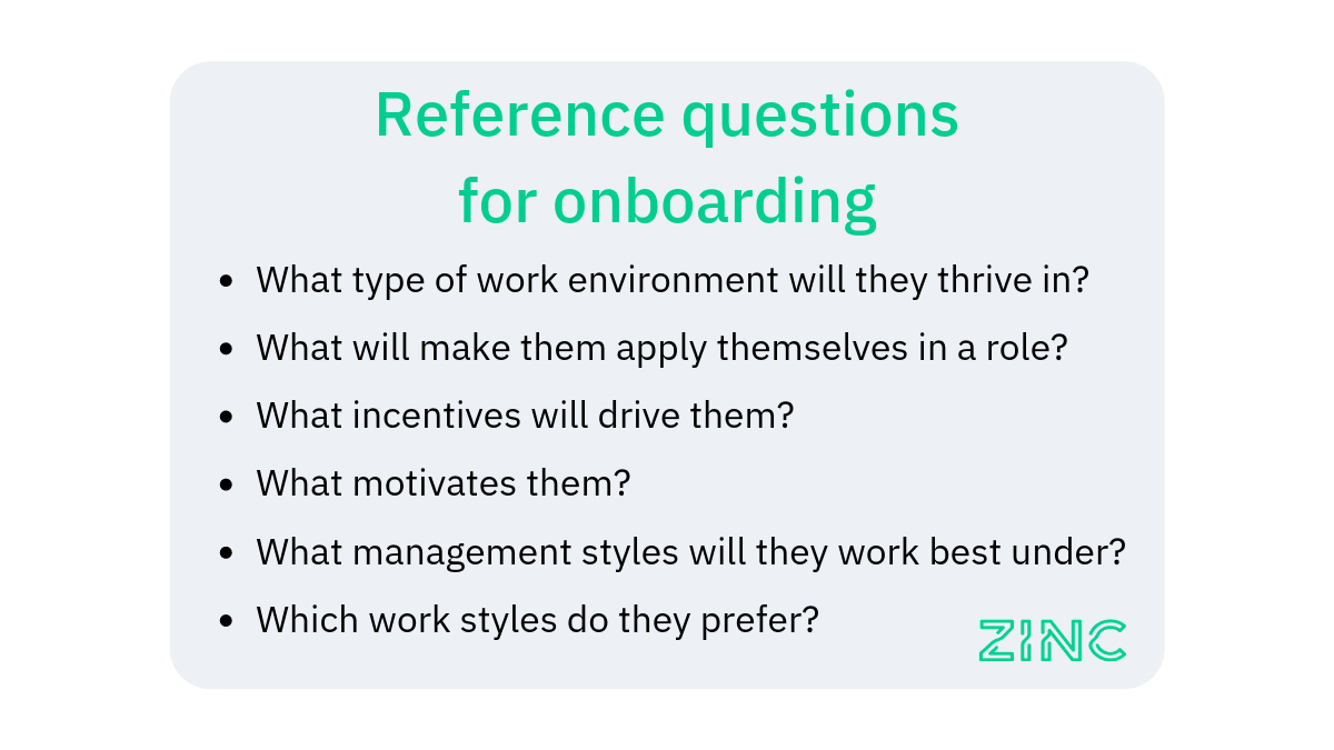 Reference check questions for onboarding candidate experience