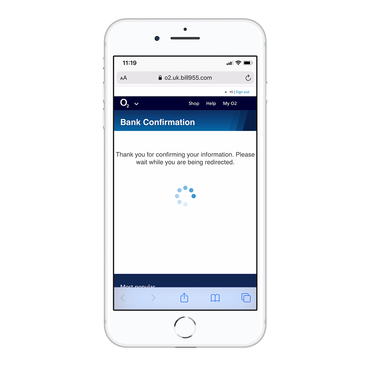 O2 text scam bank confirmation screen