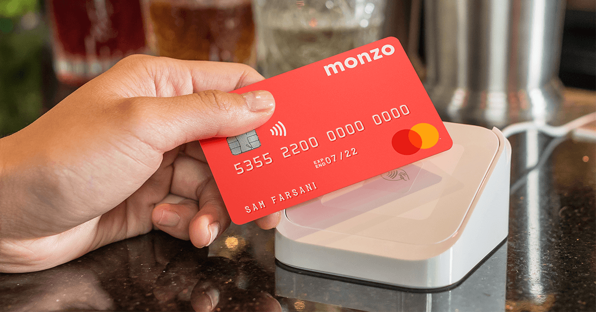 contactless Monzo card tapping on a card reader