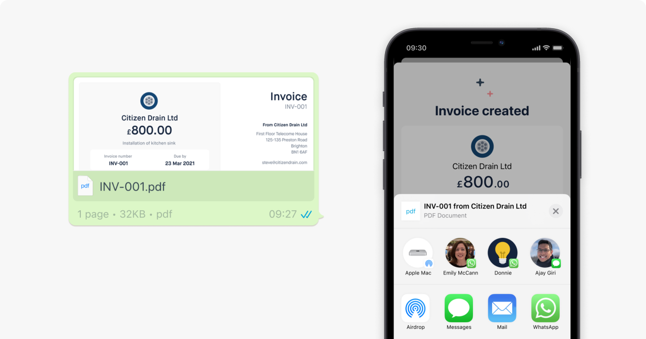 In-app share functionality for invoices.