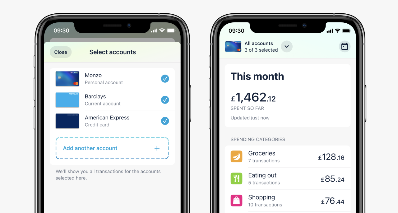 Two app screens, one showing multiple accounts selected in the account selection screen in Trends, the other showing the Trends homepage.