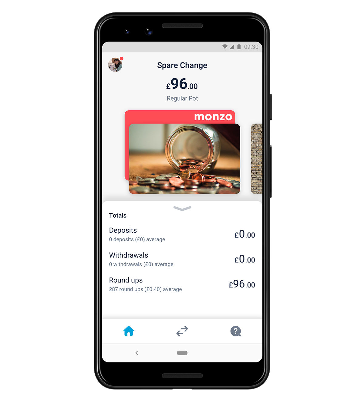 Screen in the Monzo app showing roundups
