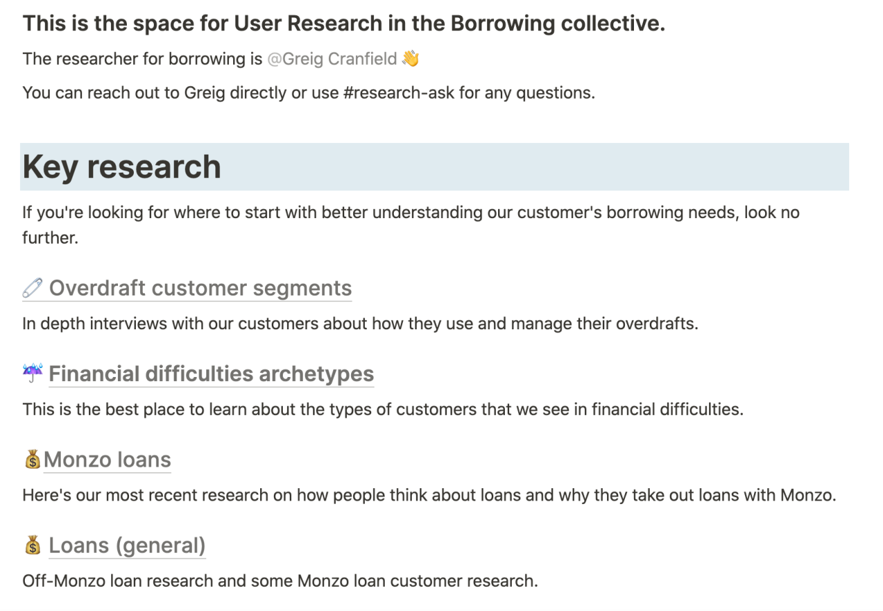 Screenshot of the User Research space in Monzo's internally documentation, where the team share key research