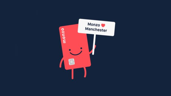 """hotchip holding sign """"Monzo loves Manchester"""""""
