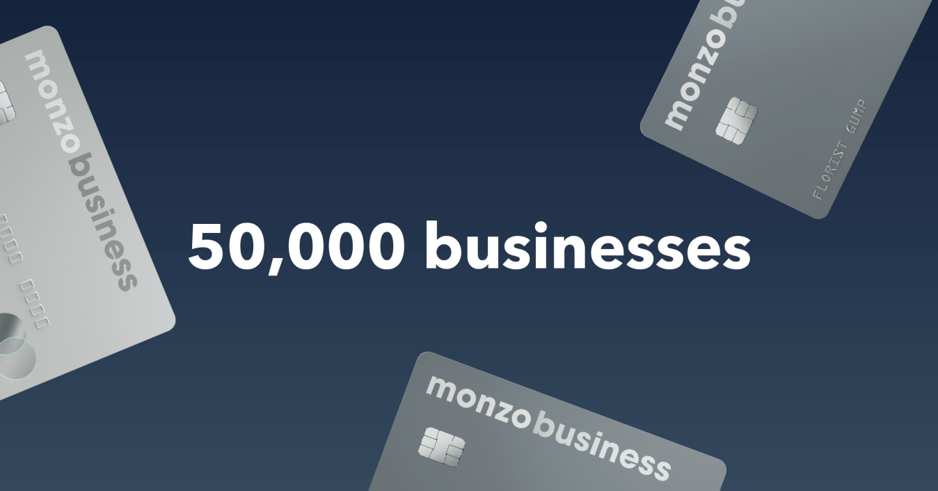Asset for the 50k Monzo Business customer announcement.