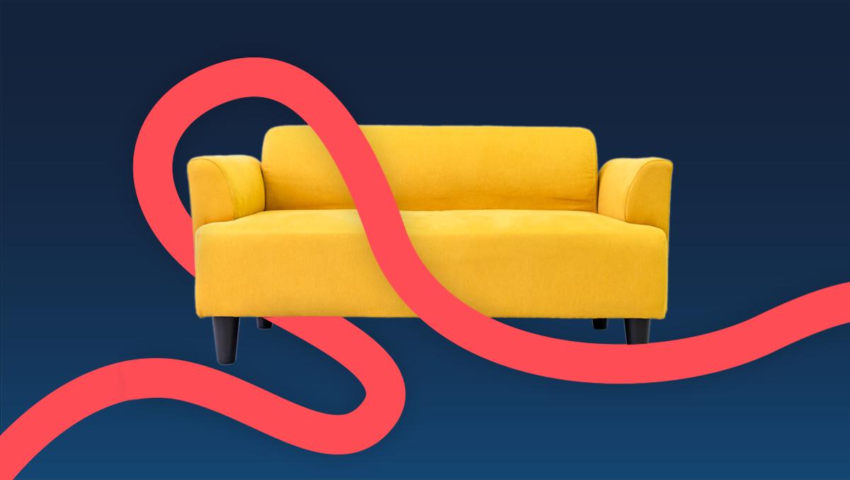 The Monzo Flex ribbon over a sofa