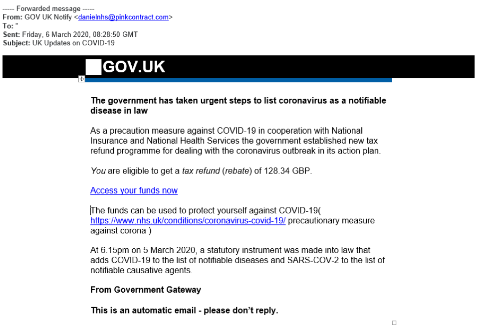 Example of an HMRC scam email