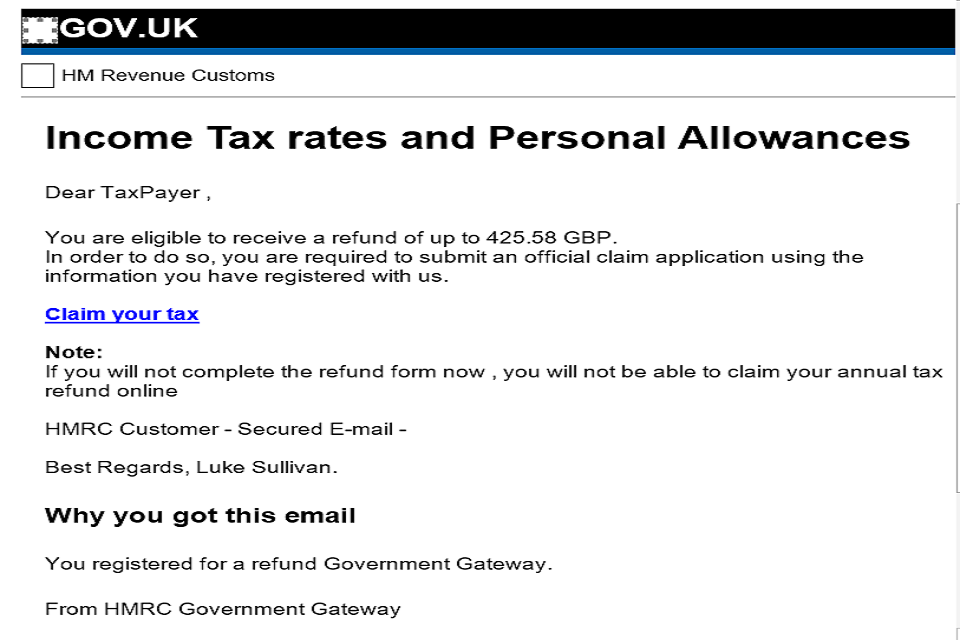 Example of a scam HMRC email